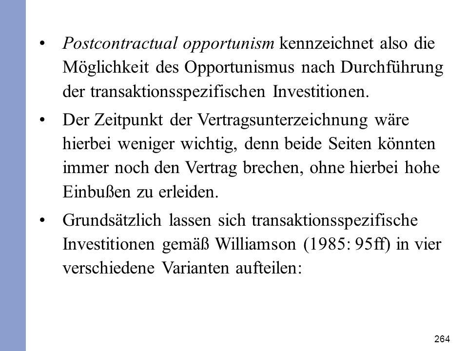 264 Postcontractual opportunism kennzeichnet also die Möglichkeit des Opportunismus nach Durchführung der transaktionsspezifischen Investitionen. Der