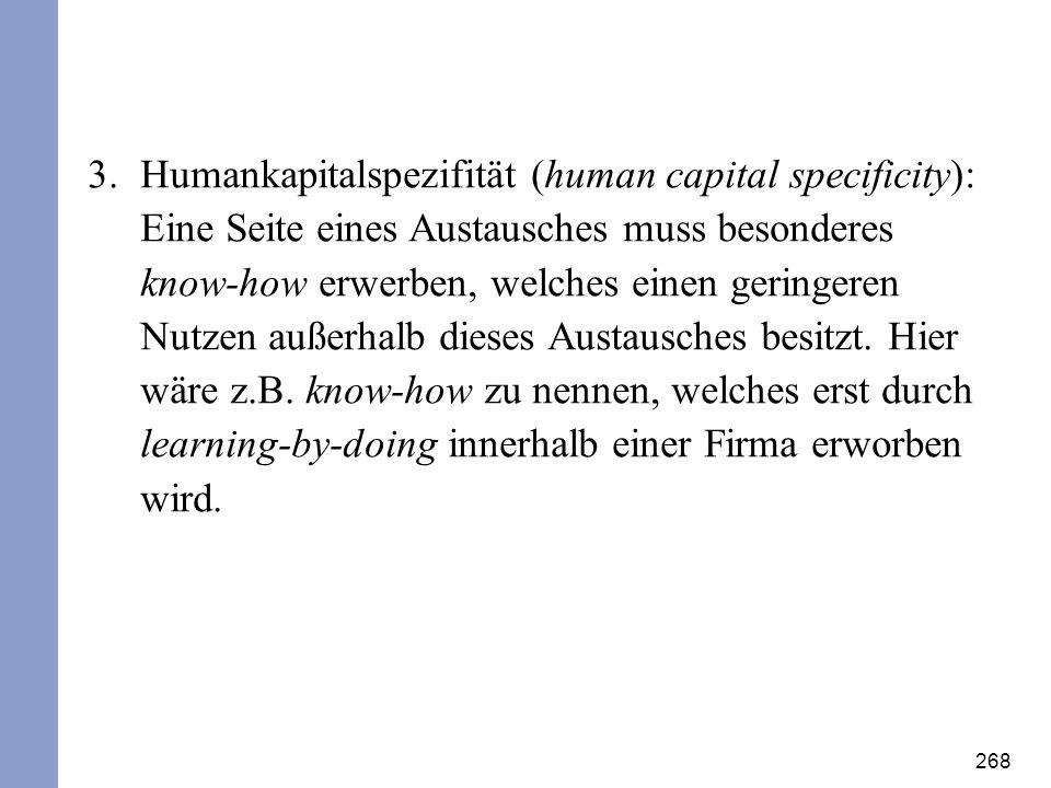 268 3.Humankapitalspezifität (human capital specificity): Eine Seite eines Austausches muss besonderes know-how erwerben, welches einen geringeren Nut