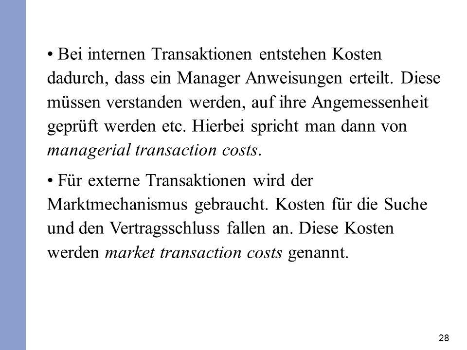 28 Bei internen Transaktionen entstehen Kosten dadurch, dass ein Manager Anweisungen erteilt. Diese müssen verstanden werden, auf ihre Angemessenheit