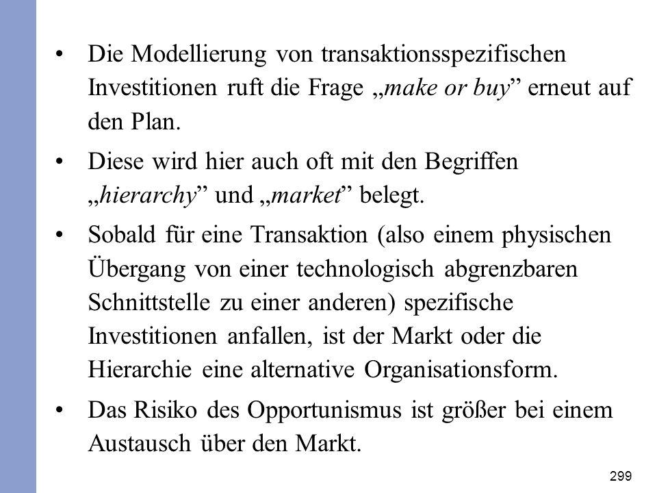 299 Die Modellierung von transaktionsspezifischen Investitionen ruft die Frage make or buy erneut auf den Plan. Diese wird hier auch oft mit den Begri