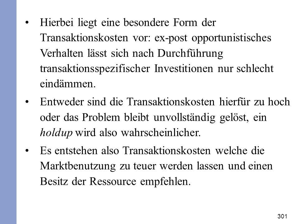 301 Hierbei liegt eine besondere Form der Transaktionskosten vor: ex-post opportunistisches Verhalten lässt sich nach Durchführung transaktionsspezifi