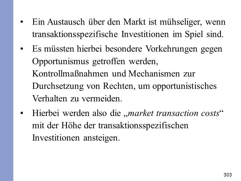 303 Ein Austausch über den Markt ist mühseliger, wenn transaktionsspezifische Investitionen im Spiel sind. Es müssten hierbei besondere Vorkehrungen g