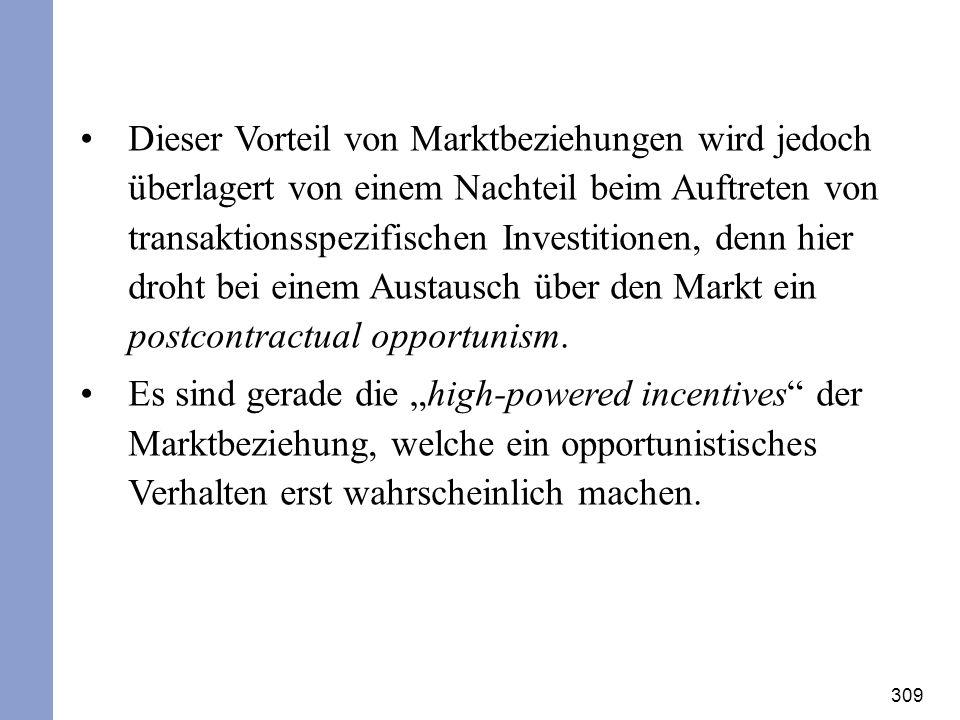 309 Dieser Vorteil von Marktbeziehungen wird jedoch überlagert von einem Nachteil beim Auftreten von transaktionsspezifischen Investitionen, denn hier