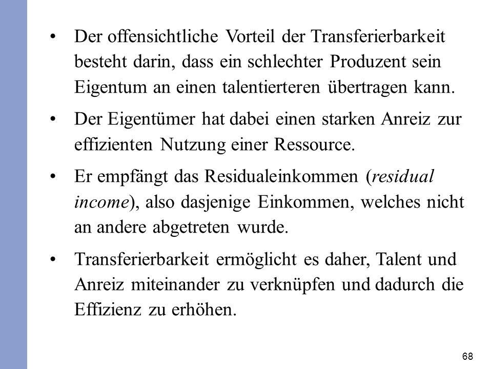 68 Der offensichtliche Vorteil der Transferierbarkeit besteht darin, dass ein schlechter Produzent sein Eigentum an einen talentierteren übertragen ka