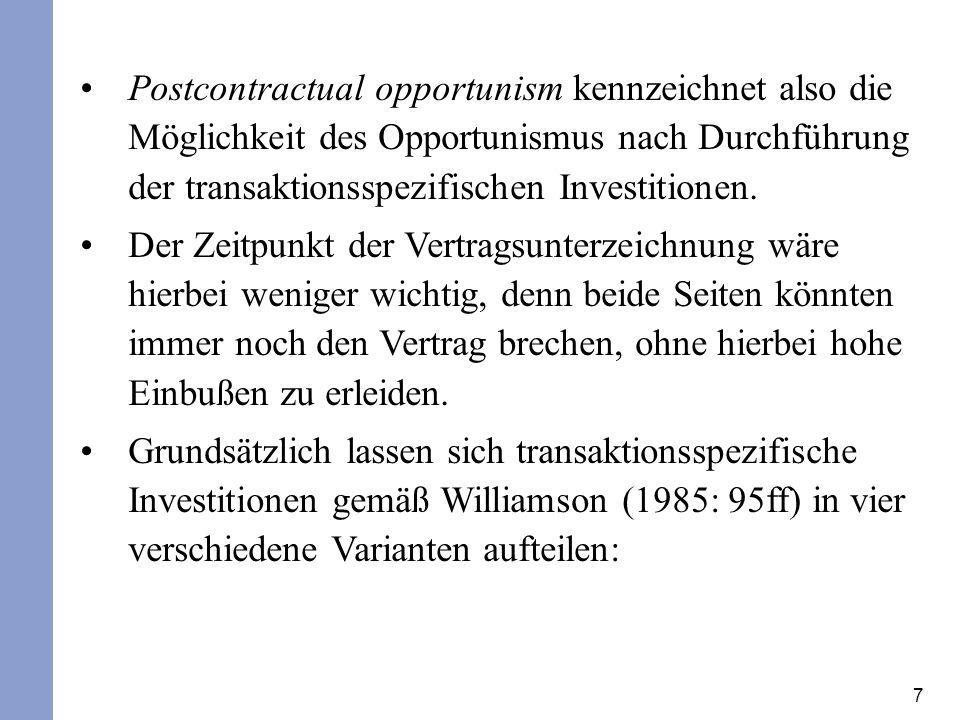 7 Postcontractual opportunism kennzeichnet also die Möglichkeit des Opportunismus nach Durchführung der transaktionsspezifischen Investitionen. Der Ze