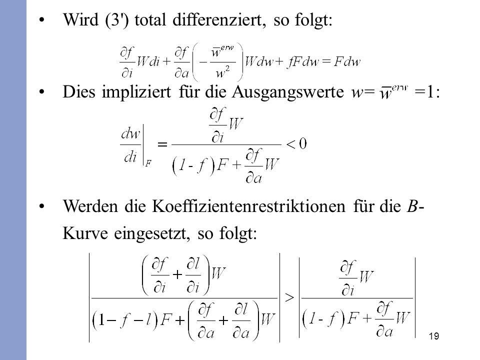 19 Wird (3') total differenziert, so folgt: Dies impliziert für die Ausgangswerte w= =1: Werden die Koeffizientenrestriktionen für die B- Kurve einges