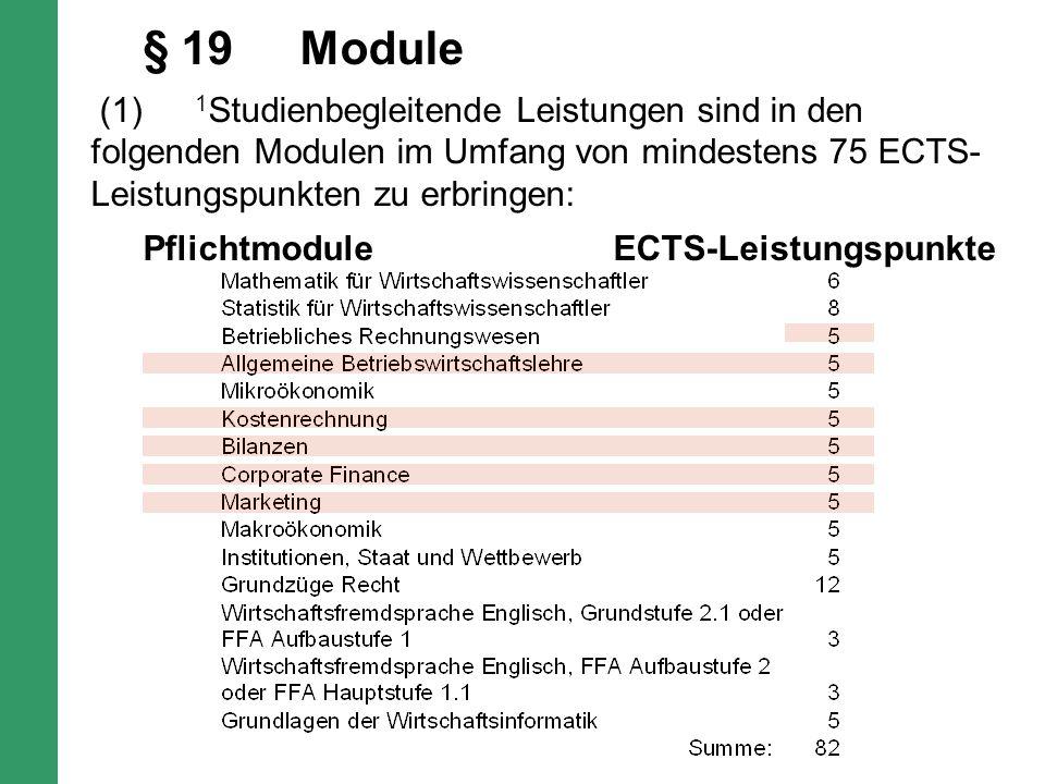 § 19Module (1) 1 Studienbegleitende Leistungen sind in den folgenden Modulen im Umfang von mindestens 75 ECTS- Leistungspunkten zu erbringen: Pflichtmodule ECTS-Leistungspunkte