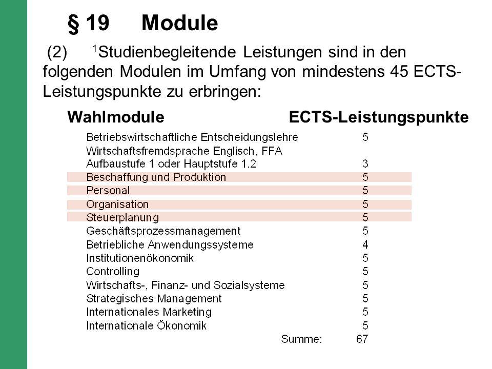 § 19Module (2) 1 Studienbegleitende Leistungen sind in den folgenden Modulen im Umfang von mindestens 45 ECTS- Leistungspunkte zu erbringen: WahlmoduleECTS-Leistungspunkte