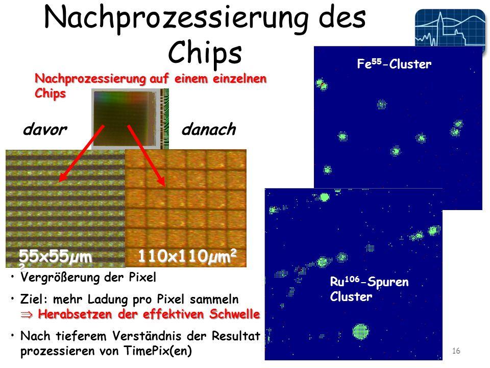 Nachprozessierung des Chips 16 Vergrößerung der Pixel Herabsetzen der effektiven SchwelleZiel: mehr Ladung pro Pixel sammeln Herabsetzen der effektiven Schwelle Nach tieferem Verständnis der Resultat prozessieren von TimePix(en) davordanach Nachprozessierung auf einem einzelnen Chips 55x55µm 2 110x110µm 2 Fe 55 -Cluster Ru 106 -Spuren Cluster