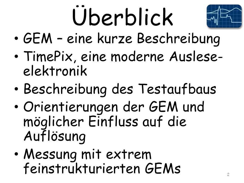 Überblick GEM – eine kurze Beschreibung TimePix, eine moderne Auslese- elektronik Beschreibung des Testaufbaus Orientierungen der GEM und möglicher Einfluss auf die Auflösung Messung mit extrem feinstrukturierten GEMs 2