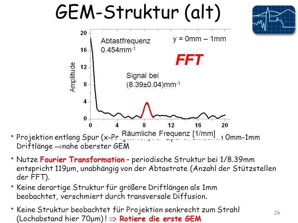 GEM-Struktur (alt) 26 Keine derartige Struktur für größere Driftlängen als 1mm beobachtet, verschmiert durch transversale Diffusion.