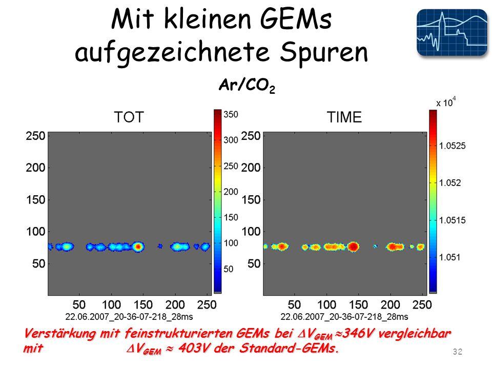 Mit kleinen GEMs aufgezeichnete Spuren 32 Verstärkung mit feinstrukturierten GEMs bei V GEM 346V vergleichbar mit V GEM 403V der Standard-GEMs.