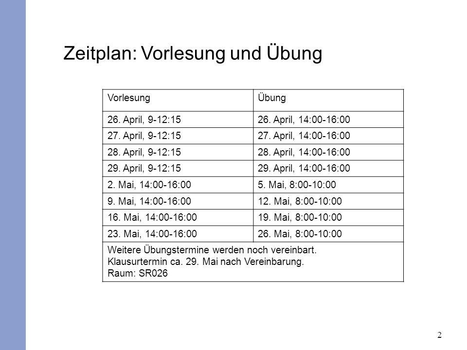 2 Zeitplan: Vorlesung und Übung VorlesungÜbung 26. April, 9-12:1526. April, 14:00-16:00 27. April, 9-12:1527. April, 14:00-16:00 28. April, 9-12:1528.