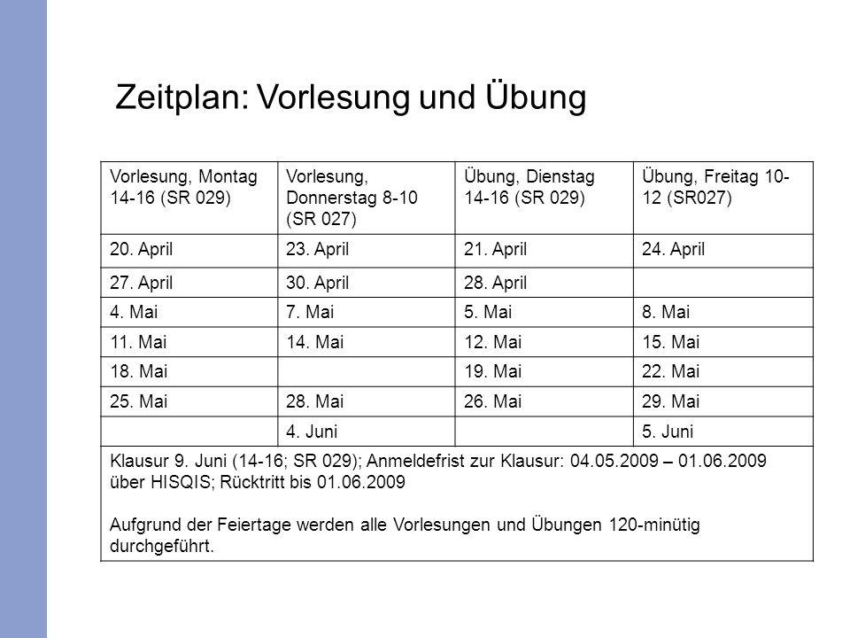 Zeitplan: Vorlesung und Übung Vorlesung, Montag 14-16 (SR 029) Vorlesung, Donnerstag 8-10 (SR 027) Übung, Dienstag 14-16 (SR 029) Übung, Freitag 10- 12 (SR027) 20.