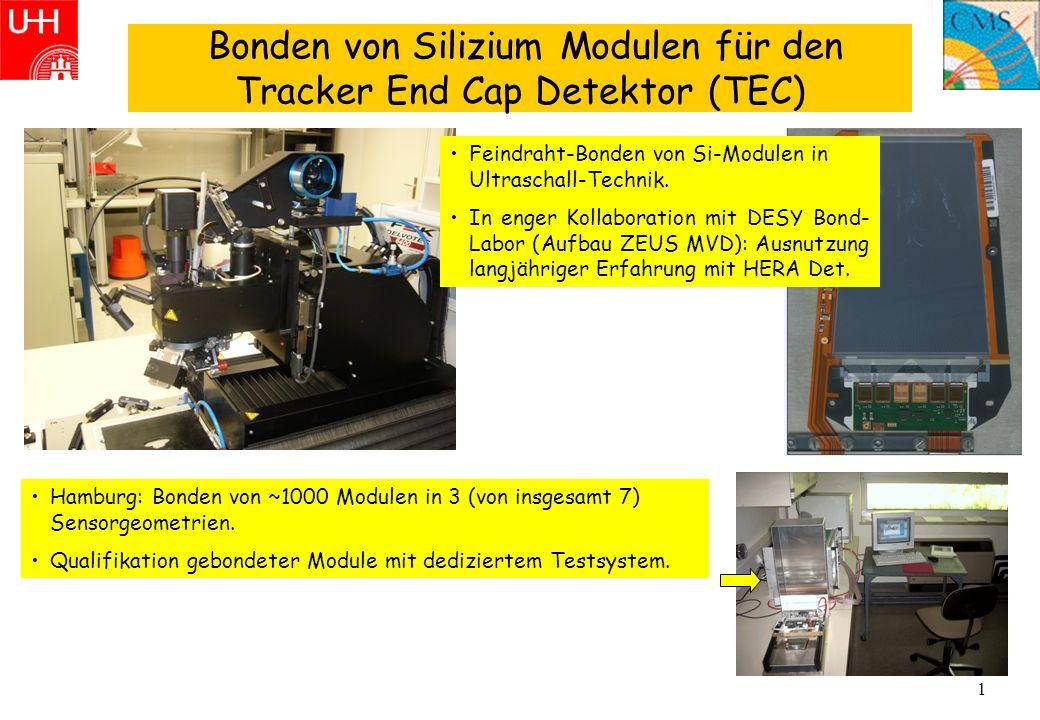 1 Bonden von Silizium Modulen für den Tracker End Cap Detektor (TEC) Hamburg: Bonden von ~1000 Modulen in 3 (von insgesamt 7) Sensorgeometrien. Qualif