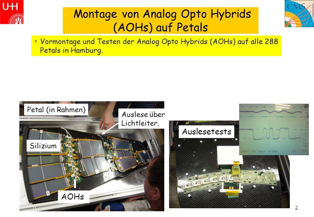 2 Montage von Analog Opto Hybrids (AOHs) auf Petals Vormontage und Testen der Analog Opto Hybrids (AOHs) auf alle 288 Petals in Hamburg. AOHs Ausleset