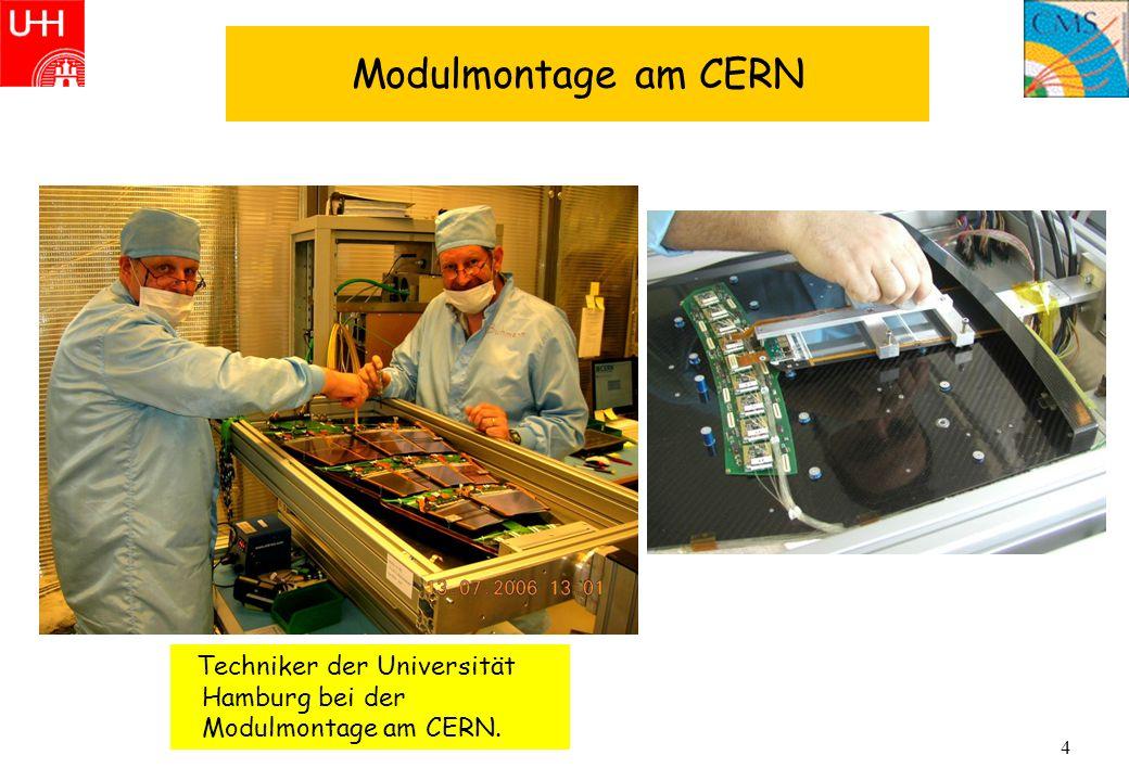 4 Modulmontage am CERN Techniker der Universität Hamburg bei der Modulmontage am CERN.