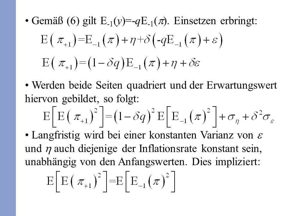 Gemäß (6) gilt E -1 (y)=-qE -1 ( ). Einsetzen erbringt: Werden beide Seiten quadriert und der Erwartungswert hiervon gebildet, so folgt: Langfristig w