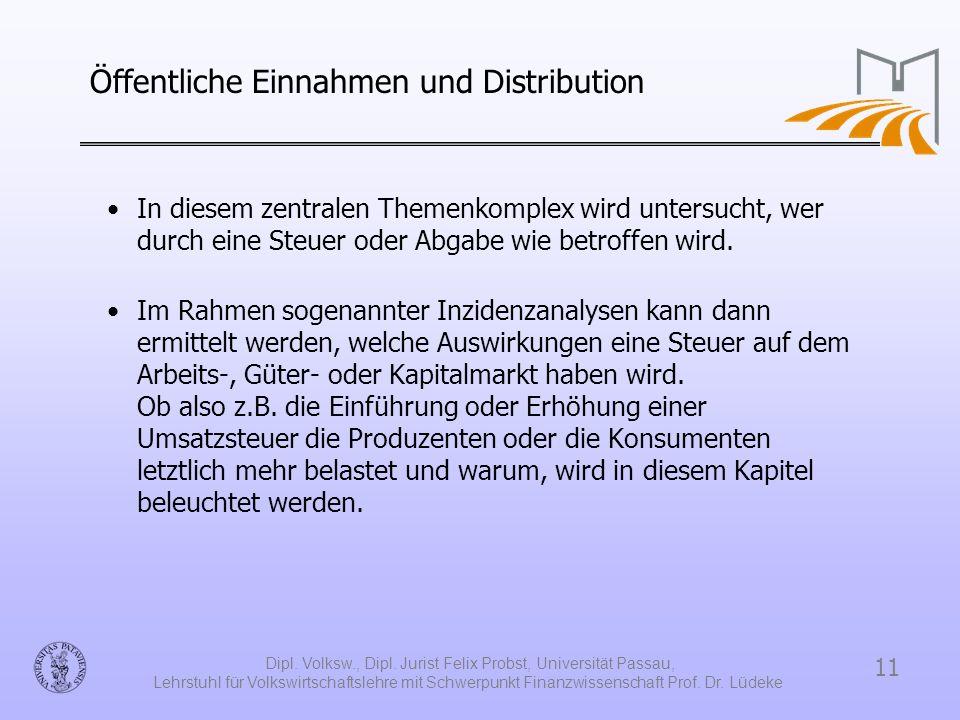 11 Dipl. Volksw., Dipl. Jurist Felix Probst, Universität Passau, Lehrstuhl für Volkswirtschaftslehre mit Schwerpunkt Finanzwissenschaft Prof. Dr. Lüde