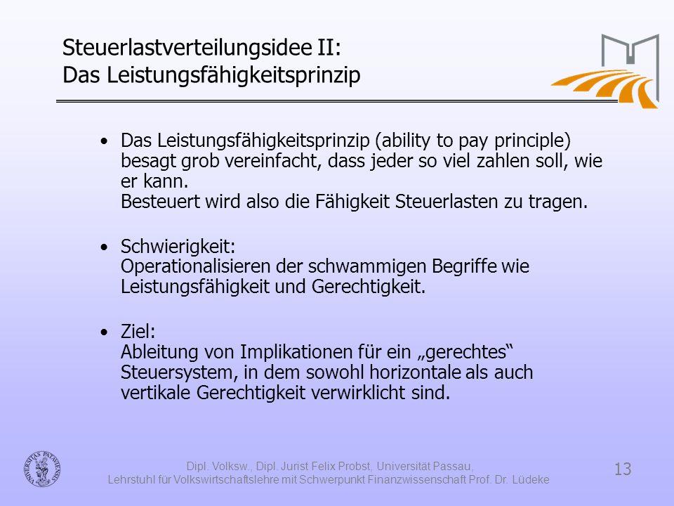 13 Dipl. Volksw., Dipl. Jurist Felix Probst, Universität Passau, Lehrstuhl für Volkswirtschaftslehre mit Schwerpunkt Finanzwissenschaft Prof. Dr. Lüde