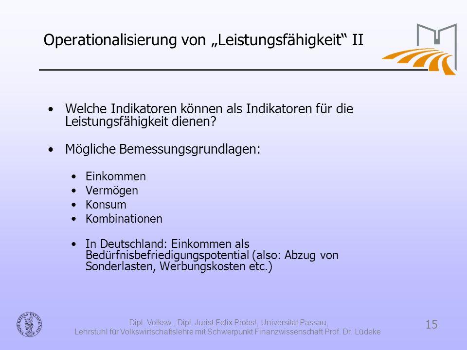 15 Dipl. Volksw., Dipl. Jurist Felix Probst, Universität Passau, Lehrstuhl für Volkswirtschaftslehre mit Schwerpunkt Finanzwissenschaft Prof. Dr. Lüde