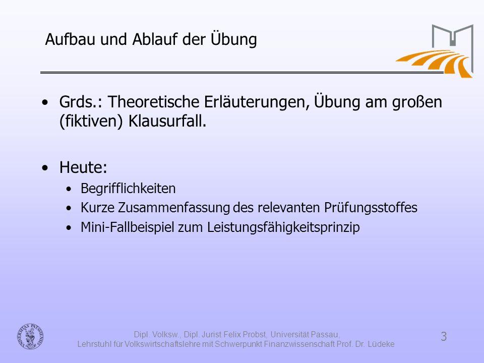 3 Dipl. Volksw., Dipl. Jurist Felix Probst, Universität Passau, Lehrstuhl für Volkswirtschaftslehre mit Schwerpunkt Finanzwissenschaft Prof. Dr. Lüdek