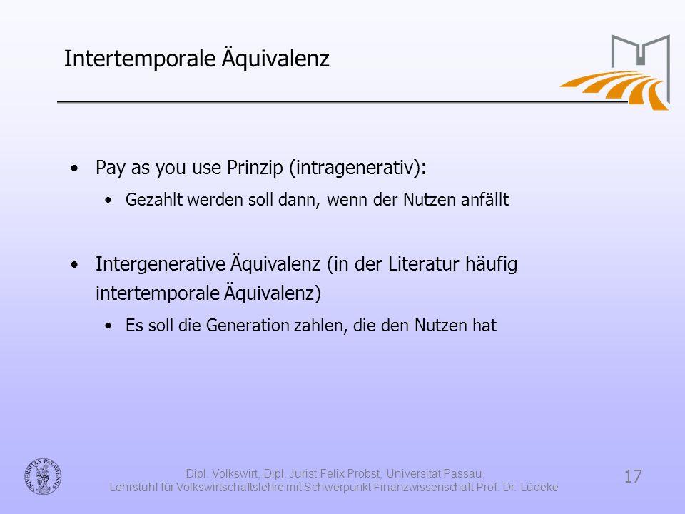17 Dipl. Volkswirt, Dipl. Jurist Felix Probst, Universität Passau, Lehrstuhl für Volkswirtschaftslehre mit Schwerpunkt Finanzwissenschaft Prof. Dr. Lü