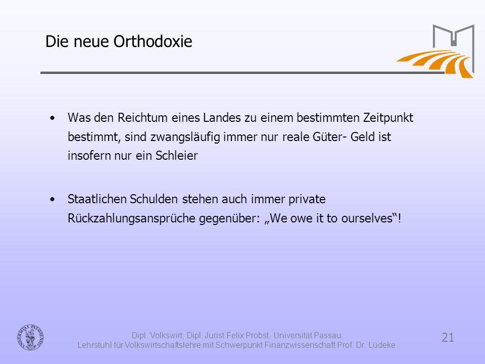 21 Dipl. Volkswirt, Dipl. Jurist Felix Probst, Universität Passau, Lehrstuhl für Volkswirtschaftslehre mit Schwerpunkt Finanzwissenschaft Prof. Dr. Lü