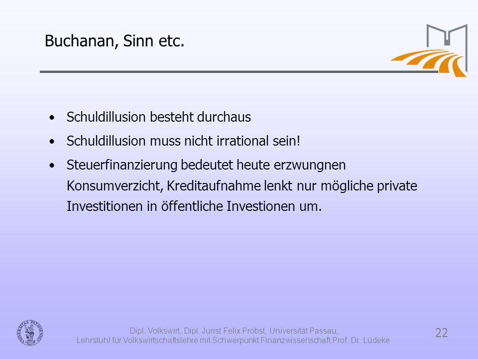 22 Dipl. Volkswirt, Dipl. Jurist Felix Probst, Universität Passau, Lehrstuhl für Volkswirtschaftslehre mit Schwerpunkt Finanzwissenschaft Prof. Dr. Lü