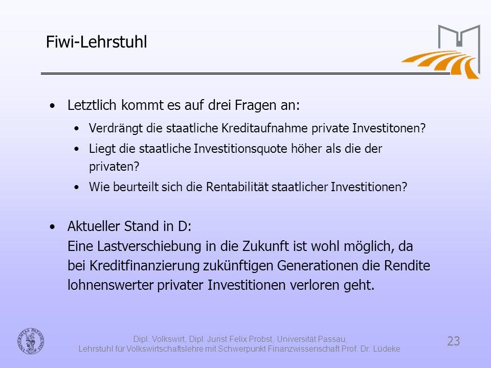 23 Dipl. Volkswirt, Dipl. Jurist Felix Probst, Universität Passau, Lehrstuhl für Volkswirtschaftslehre mit Schwerpunkt Finanzwissenschaft Prof. Dr. Lü
