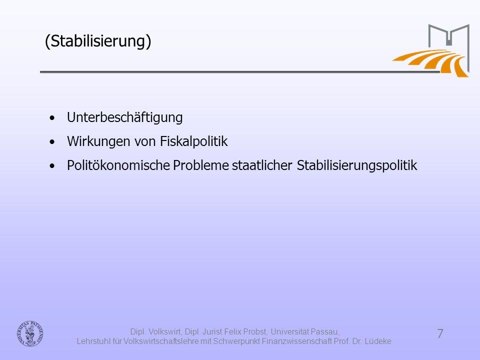 7 Dipl. Volkswirt, Dipl. Jurist Felix Probst, Universität Passau, Lehrstuhl für Volkswirtschaftslehre mit Schwerpunkt Finanzwissenschaft Prof. Dr. Lüd