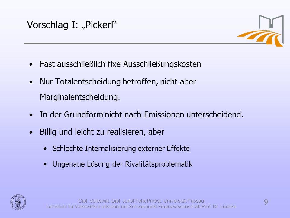 9 Dipl. Volkswirt, Dipl. Jurist Felix Probst, Universität Passau, Lehrstuhl für Volkswirtschaftslehre mit Schwerpunkt Finanzwissenschaft Prof. Dr. Lüd