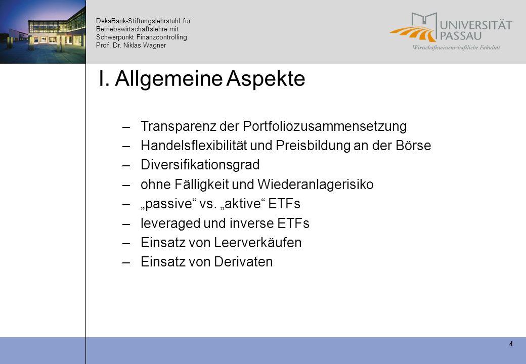 DekaBank-Stiftungslehrstuhl für Betriebswirtschaftslehre mit Schwerpunkt Finanzcontrolling Prof. Dr. Niklas Wagner 4 I. Allgemeine Aspekte –Transparen