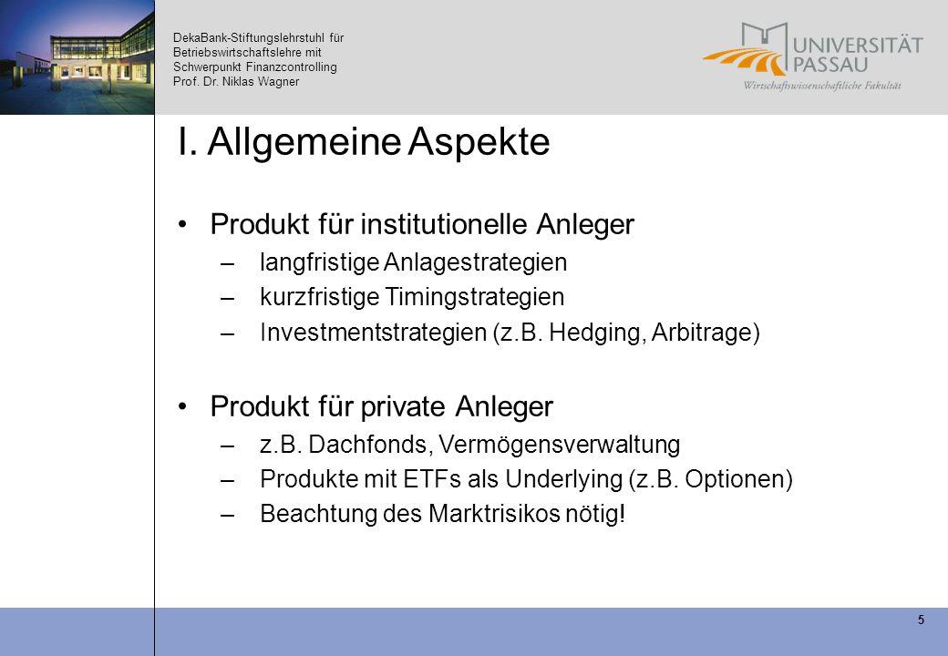DekaBank-Stiftungslehrstuhl für Betriebswirtschaftslehre mit Schwerpunkt Finanzcontrolling Prof. Dr. Niklas Wagner 5 I. Allgemeine Aspekte Produkt für