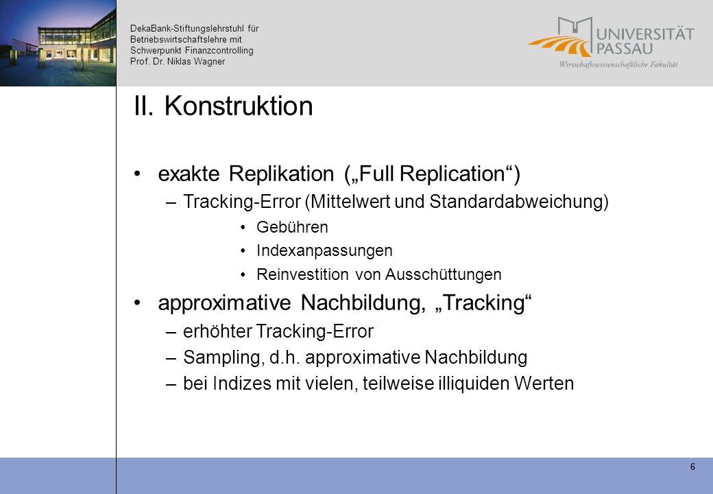 DekaBank-Stiftungslehrstuhl für Betriebswirtschaftslehre mit Schwerpunkt Finanzcontrolling Prof. Dr. Niklas Wagner 6 II. Konstruktion exakte Replikati