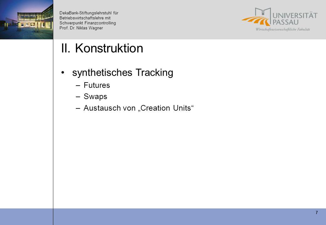 DekaBank-Stiftungslehrstuhl für Betriebswirtschaftslehre mit Schwerpunkt Finanzcontrolling Prof. Dr. Niklas Wagner 7 II. Konstruktion synthetisches Tr