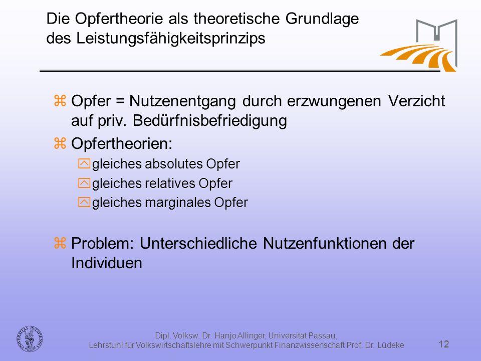 Dipl. Volksw. Dr. Hanjo Allinger, Universität Passau, Lehrstuhl für Volkswirtschaftslehre mit Schwerpunkt Finanzwissenschaft Prof. Dr. Lüdeke 12 Die O