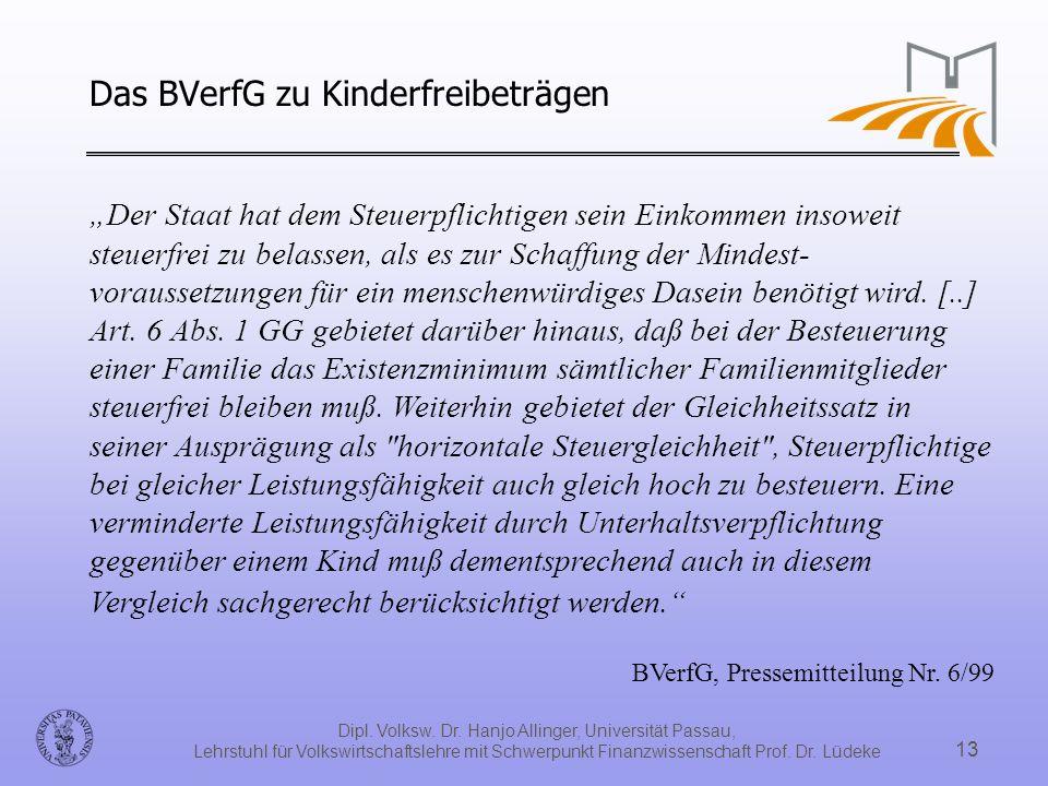 Dipl. Volksw. Dr. Hanjo Allinger, Universität Passau, Lehrstuhl für Volkswirtschaftslehre mit Schwerpunkt Finanzwissenschaft Prof. Dr. Lüdeke 13 Der S