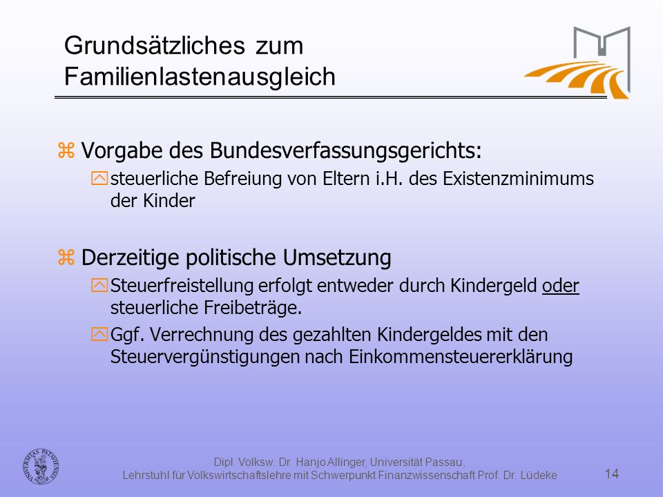 Dipl. Volksw. Dr. Hanjo Allinger, Universität Passau, Lehrstuhl für Volkswirtschaftslehre mit Schwerpunkt Finanzwissenschaft Prof. Dr. Lüdeke 14 Grund