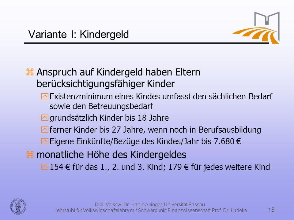 Dipl. Volksw. Dr. Hanjo Allinger, Universität Passau, Lehrstuhl für Volkswirtschaftslehre mit Schwerpunkt Finanzwissenschaft Prof. Dr. Lüdeke 15 Varia
