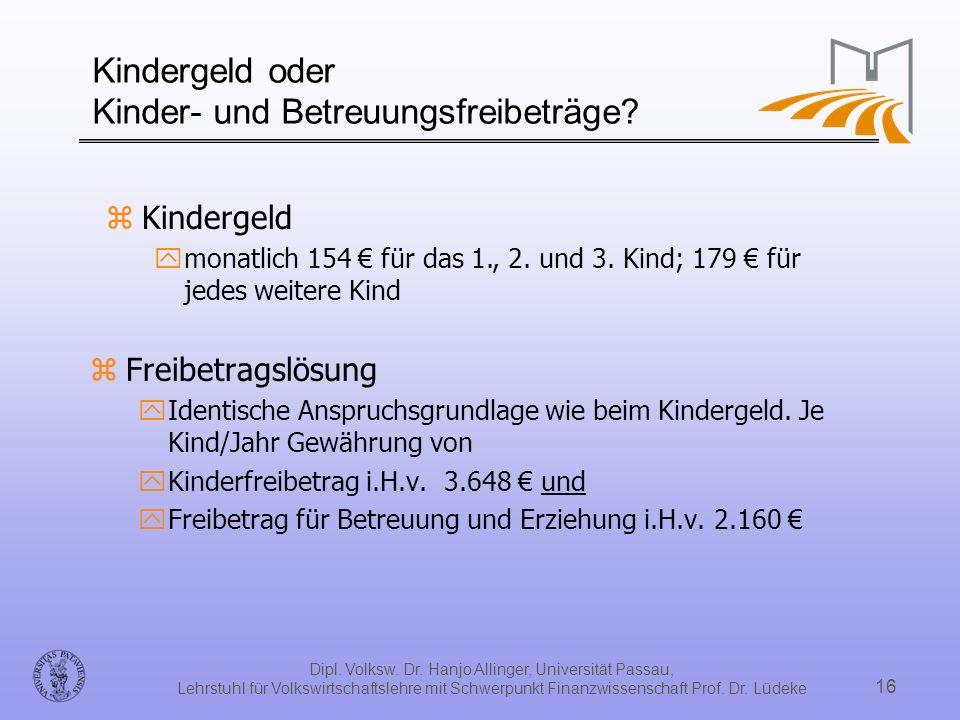 Dipl. Volksw. Dr. Hanjo Allinger, Universität Passau, Lehrstuhl für Volkswirtschaftslehre mit Schwerpunkt Finanzwissenschaft Prof. Dr. Lüdeke 16 Kinde
