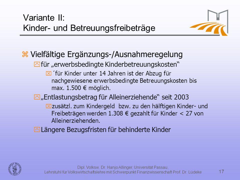 Dipl. Volksw. Dr. Hanjo Allinger, Universität Passau, Lehrstuhl für Volkswirtschaftslehre mit Schwerpunkt Finanzwissenschaft Prof. Dr. Lüdeke 17 Varia