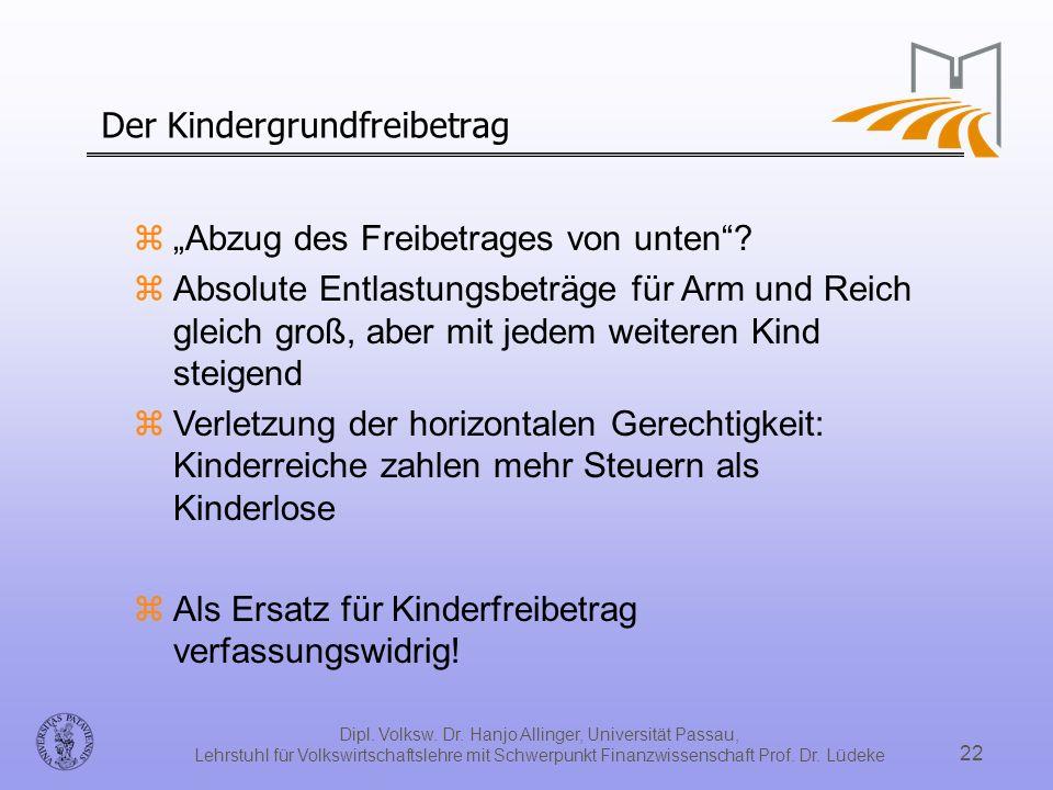 Dipl. Volksw. Dr. Hanjo Allinger, Universität Passau, Lehrstuhl für Volkswirtschaftslehre mit Schwerpunkt Finanzwissenschaft Prof. Dr. Lüdeke 22 Der K
