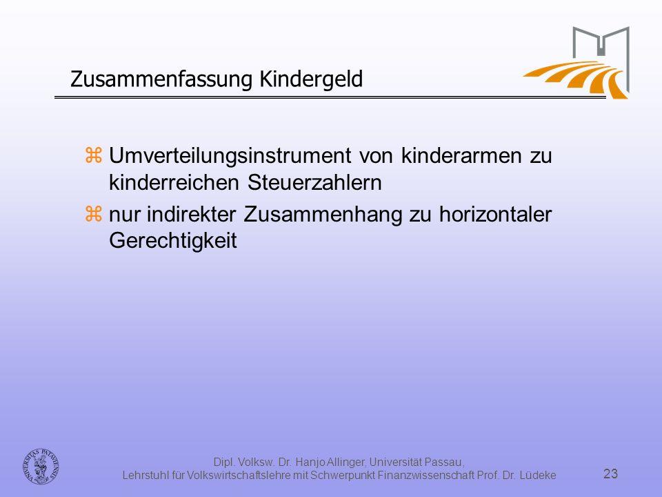 Dipl. Volksw. Dr. Hanjo Allinger, Universität Passau, Lehrstuhl für Volkswirtschaftslehre mit Schwerpunkt Finanzwissenschaft Prof. Dr. Lüdeke 23 Zusam