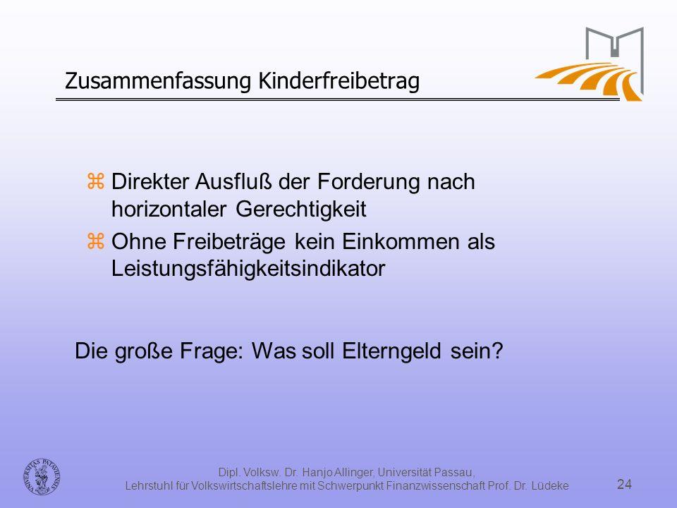 Dipl. Volksw. Dr. Hanjo Allinger, Universität Passau, Lehrstuhl für Volkswirtschaftslehre mit Schwerpunkt Finanzwissenschaft Prof. Dr. Lüdeke 24 Zusam