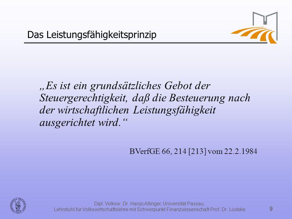 Dipl. Volksw. Dr. Hanjo Allinger, Universität Passau, Lehrstuhl für Volkswirtschaftslehre mit Schwerpunkt Finanzwissenschaft Prof. Dr. Lüdeke 9 Das Le