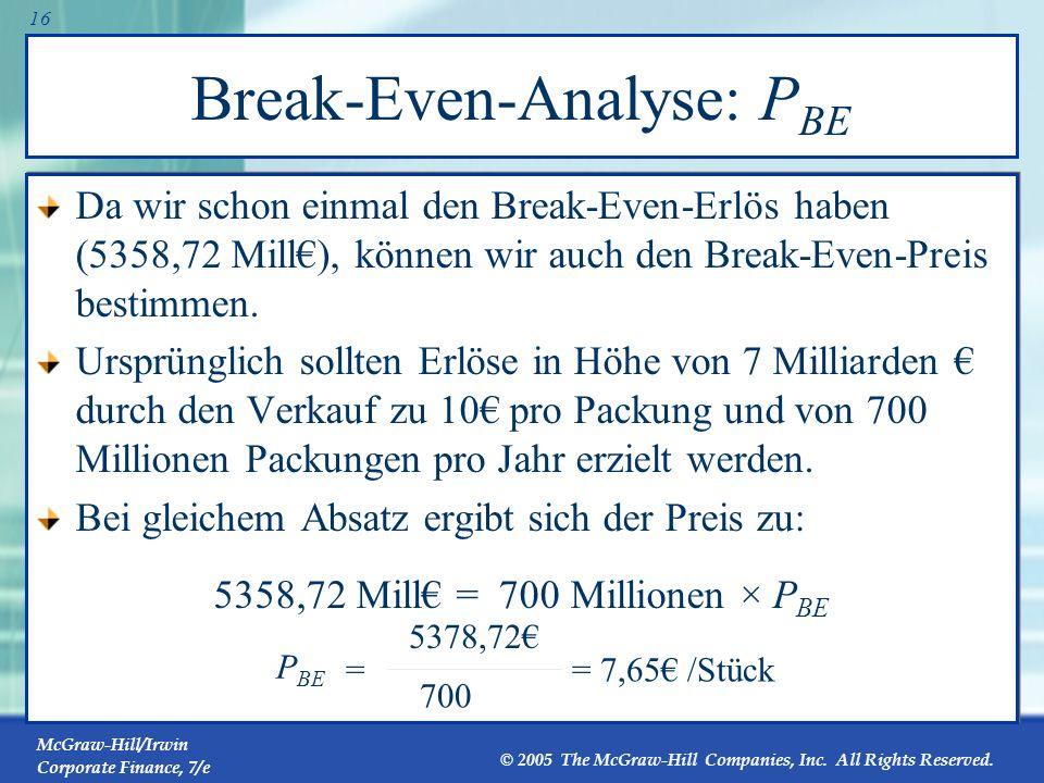 McGraw-Hill/Irwin Corporate Finance, 7/e © 2005 The McGraw-Hill Companies, Inc. All Rights Reserved. 15 Break-Even Erlöse Stewart Pharmaceuticals Rück