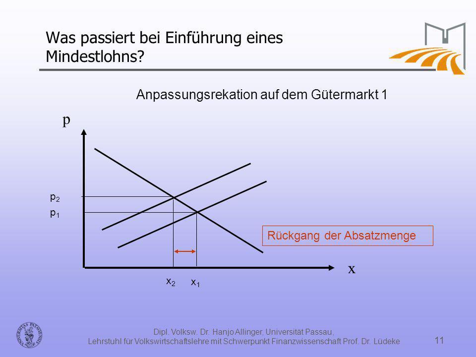 Dipl. Volksw. Dr. Hanjo Allinger, Universität Passau, Lehrstuhl für Volkswirtschaftslehre mit Schwerpunkt Finanzwissenschaft Prof. Dr. Lüdeke 11 Was p