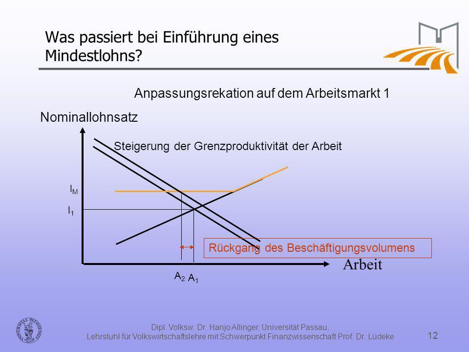 Dipl. Volksw. Dr. Hanjo Allinger, Universität Passau, Lehrstuhl für Volkswirtschaftslehre mit Schwerpunkt Finanzwissenschaft Prof. Dr. Lüdeke 12 Was p