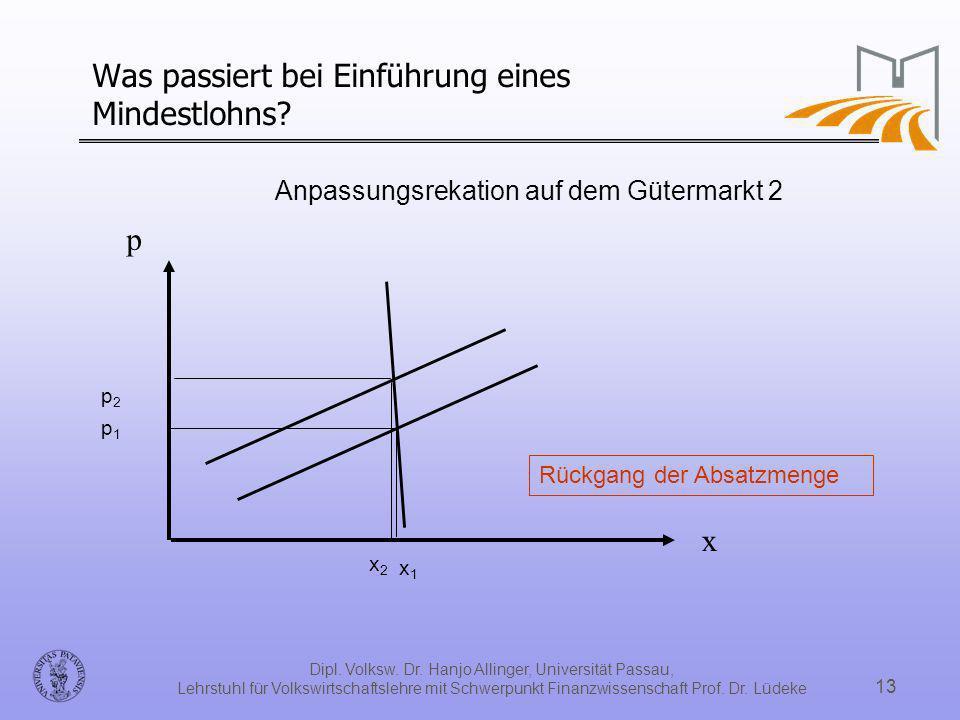 Dipl. Volksw. Dr. Hanjo Allinger, Universität Passau, Lehrstuhl für Volkswirtschaftslehre mit Schwerpunkt Finanzwissenschaft Prof. Dr. Lüdeke 13 Was p